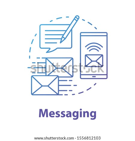 Messaging concept icon. Mailing idea thin line illustration. Online communication with instant text messages. Internet chatting through application. Vector isolated outline drawing