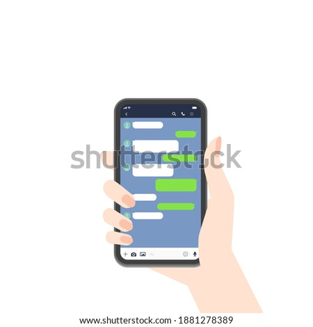Messenger app chats screenshot vector illustration. Template for talking on the Mobile phone with empty Chatting Bubbles on cute Pink background mockup. Woman hand holding a Smartphone.