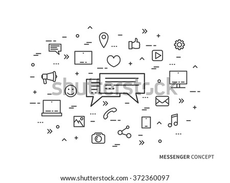 Messenger chat communication linear vector illustration. Creative concept messaging (message speech), mobile app icons. Graphic design online chatting web banner.