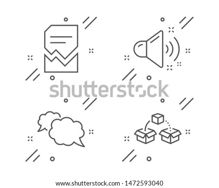 Messenger, Loud sound and Corrupted file line icons set. Parcel shipping sign. Speech bubble, Music, Damaged document. Send box. Technology set. Line messenger outline icon. Vector