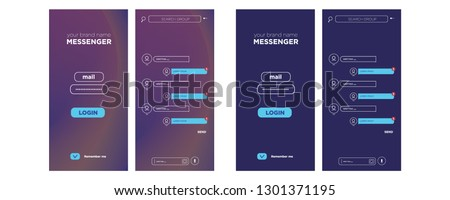 Messenger. Talk interface with chat boxes and icons vector message template