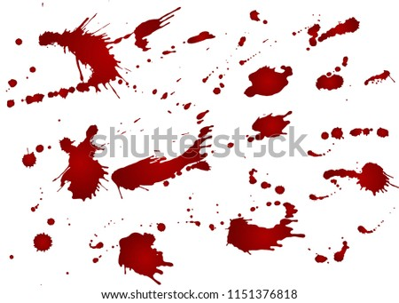 Messy blood blot, red drops on white background. Vector illustration, maniac style.