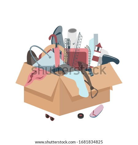 Messy box with useless broken things. Mess icon. Throw away Junk from home concept. Vector illustration Stockfoto ©