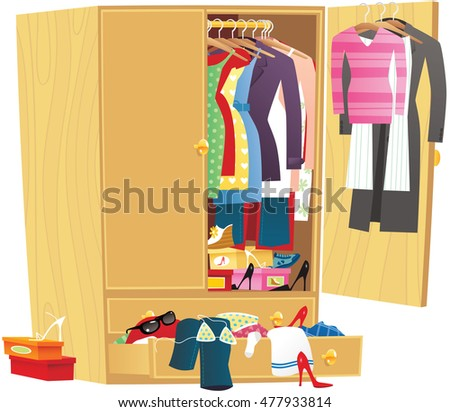 messy clothing wardrobe