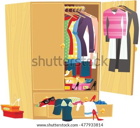 messy clothing wardrobe
