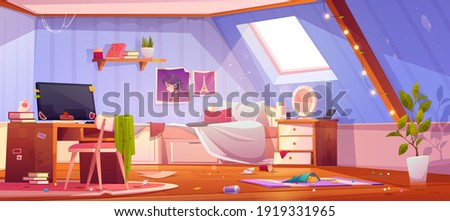 Messy girl bedroom on attic. Vector cartoon interior of mansard with dirty furniture and clothes, unmade bed and trash. Teenager room with chaos, unmade bed, mess and clutter Photo stock ©