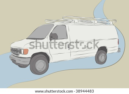 Van illustration outlines fill colors background and road outline