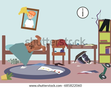 messy kids room   funny vector