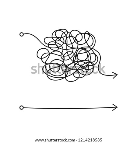 messy line like hard and easy way. flat linear trend modern art graphic random quiz design ball element isolated on white. concept of true and false path or straight and winding road or mind idea