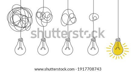Messy lines and bulb. Idea concept with outline lamps. Doodle tangled cord with knot and broken illuminator. Process of untangling wire to supply electricity to lightbulb. Vector metaphor illustration Foto stock ©