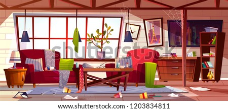 Messy living room with dirty dishes on table, spider web on ceiling and clothes scattered on stained carpet cartoon vector illustration. Household chaos, home cleaning time or bad tenant concept