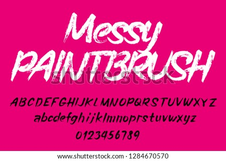 Messy paintbrush alphabet font. Uppercase and lowercase handwritten letters and numbers. Stock vector typescript.