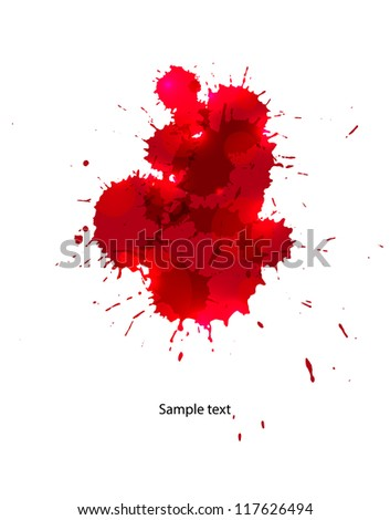 Messy red stains of blood or wine. EPS10 vector.