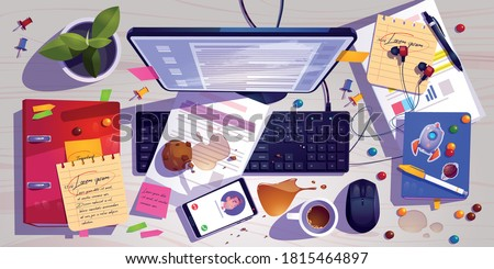 Messy workplace top view, clutter office desk, work space with mess spilled coffee, crumbled muffin and document around laptop. Mobile headset and task list with candies, Cartoon vector illustration Stock fotó ©