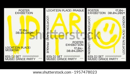 Meta modern aesthetics of Swiss design poster layout. Brutalist art inspired vector graphic template made with bold typography and abstract graffiti, great for poster art, album cover prints Stock fotó ©