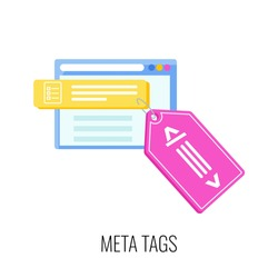 Meta tags icon. SEO, increase the quantity and quality of traffic to website. Digital marketing. Content strategy for online promotion. Marketing and advertising. Flat vector illustration.