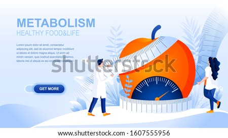 Metabolism flat landing page with header, banner vector template. Healthy food and body, dieting, losing weight website layout. Treating obesity webpage. Nutritionist cartoon character
