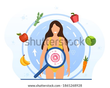 Metabolism of human organism. Cartoon young woman eating diet food for energy. Digestion, metabolic system and hormones concept. Abstract concept. Cartoon flat vector illustration