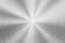 Metal abstract technology background with circular polished, brushed concentric texture, chrome, silver, steel, aluminum for design concepts, wallpapers, web and prints. Vector illustration.