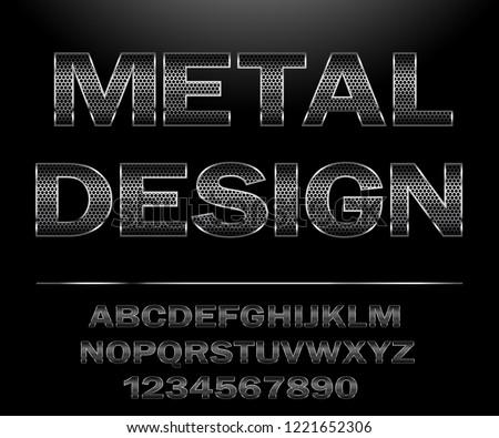 Metal Alphabet. Chrome Steel grid Font Design for typography on dark background. Illustration vector.