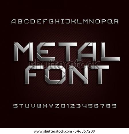 metal alphabet font chrome