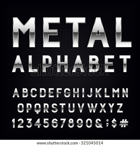 metal alphabet vector font