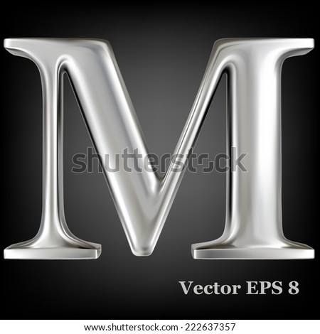 metal alphabet vector symbol   m