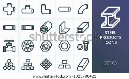 Metal and steel pipes and tubes icons set. Set of cross pipe, angle tube, tube nipple, pipe coupling, threaded fittings, flange, aluminium scrap vector icon