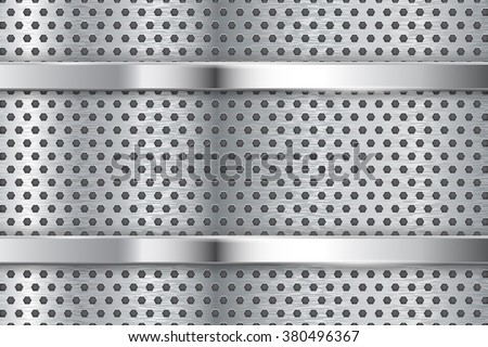 Metal background with perforation and chrome frame. Vector illustration