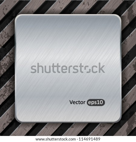 Metal background with plate and warning stripes