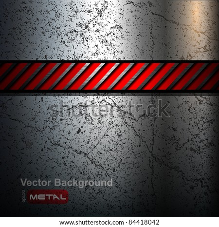 Metal background with warning stripe, vector.