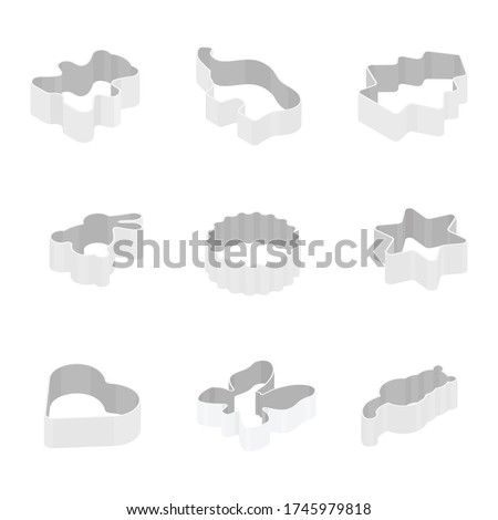 Metal baking cookie cutters set, collection. Beat, elephant, christmas tree, bunny, star, hear, butterfly and cat. Isometric view. Vector Photo stock ©