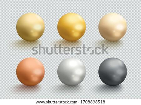Metal Balls Gold Silver Bronze 3d Spheres Vector Set