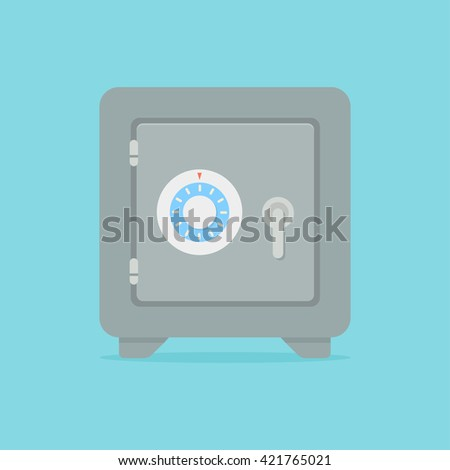 Metal bank safe vector icon in a flat style. Closed safe isolated on a colored background.