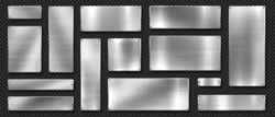 Metal banners. Realistic stainless steel boards with scratched grunge texture and silver shine. Vector metal signs and plates set, riveted image plaque or alloy plating on black transparent background