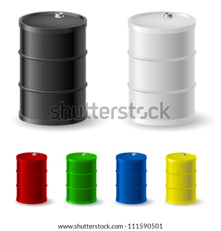 Metal barrels set on white background for design