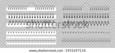 Metal binder. Realistic silver or black spiral coils for notebook. 3D helical fastening sheets set and sketchbook bindings rings on transparent background. Vector wire for stitching calendar pages Photo stock ©