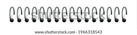 Metal binder. Realistic silver spiral coils for notebook. 3D helical fastening sheets set and sketchbook bindings rings on transparent background. Stockfoto ©