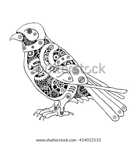 metal bird with gear wheels