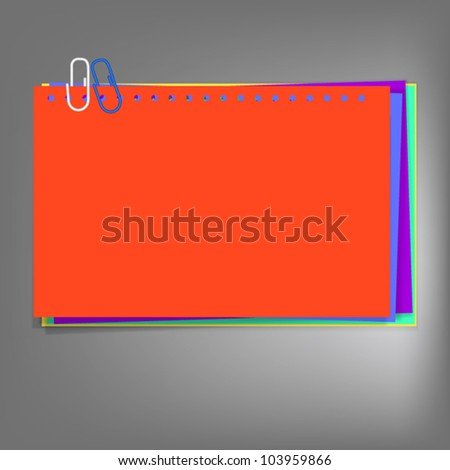 Metal blue clip and colorful notepad  on abstract background,vector