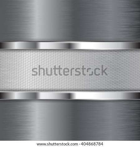 Metal brushed background with hexagon holes plate. Vector illustration