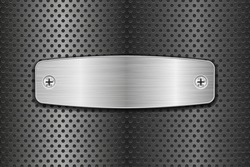 Metal brushed plate on perforated background. Vector 3d illustration