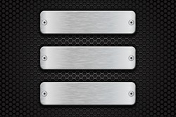 Metal brushed plate with rivets on perforated dark steel background. 3d Vector illustration
