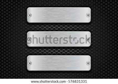metal brushed plate with rivets