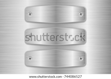 Metal brushed plates on stainless steel background. Vector 3d illustration