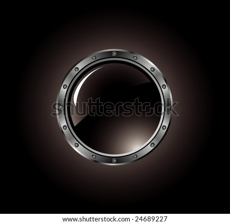 metal button with bolts - stock vector