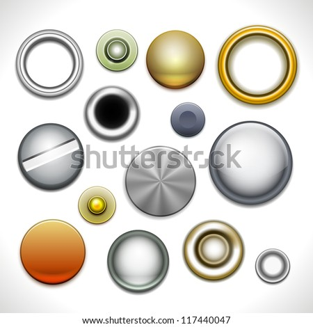 Metal buttons and rivets isolated on white. Vector Illustration