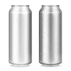 Metal can vector illustration of 3D realistic container for soda or energy drink, lemonade or beer. Isolated silver empty mockup models with cold condensation water drops for brand design template