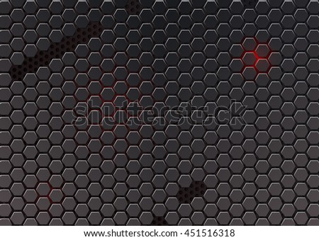 metal cell composed of hexagons