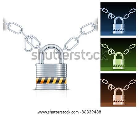 Metal chain and padlock isolated on white, vector illustration